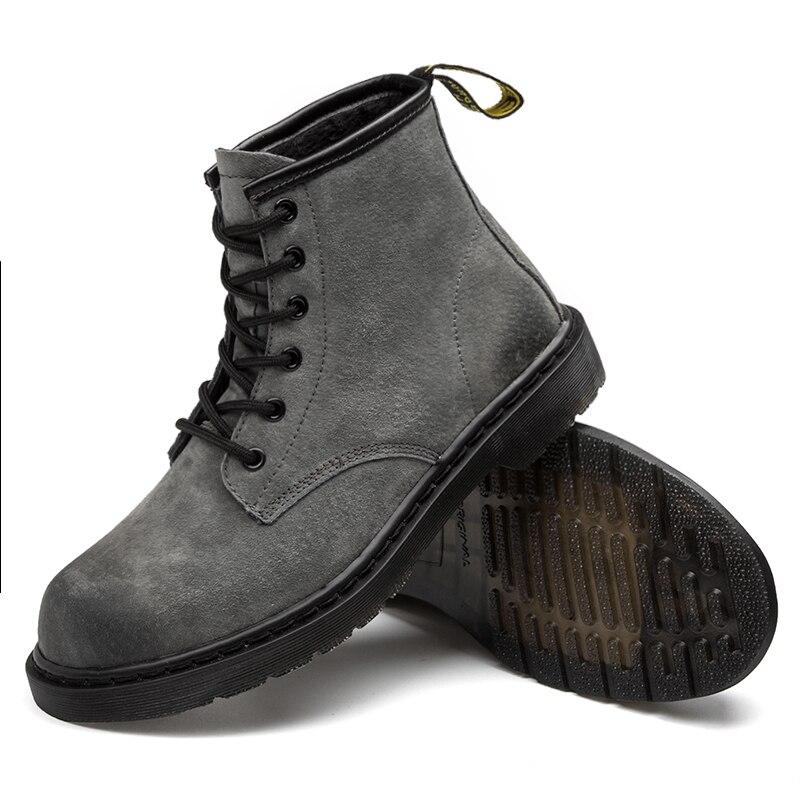 Haute En Hommes Fur De Designer black Dr Fur Daim top Chaud Martins gray Cheville gray Cuir Véritable Noir D'hiver Vache Black Unisexe Bottes Fourrure Doc F0w61qIx