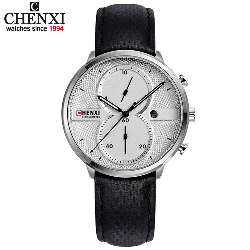 CHENXI Hommes Montres Bracelet En Cuir Montre À Quartz Multifonctionnel avec Affichage de la Date Homme Horloge Top Marque De Luxe Qualité Montres