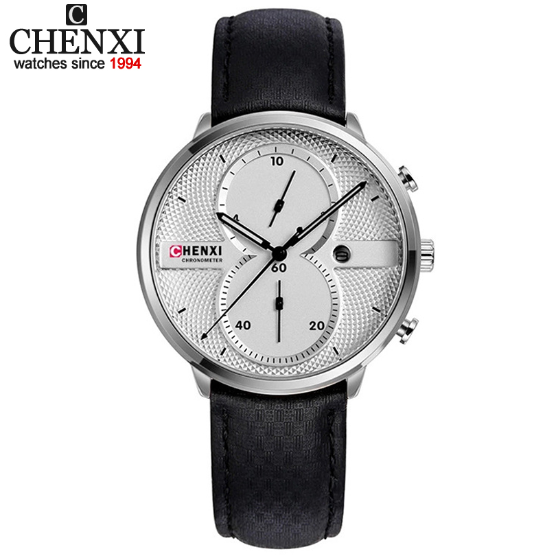CHENXI Men Wristwatches Leather Strap Multifunctional Quartz Watch with Date Display Male Clock Top Luxury Brand Quality Watches chenxi men gold watch male stainless steel quartz golden men s wristwatches for man top brand luxury quartz watches gift clock
