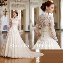 dresses free shipping 2013 Long Sleeve New white/ivory Wedding Dress Bridal Gown Custom Size