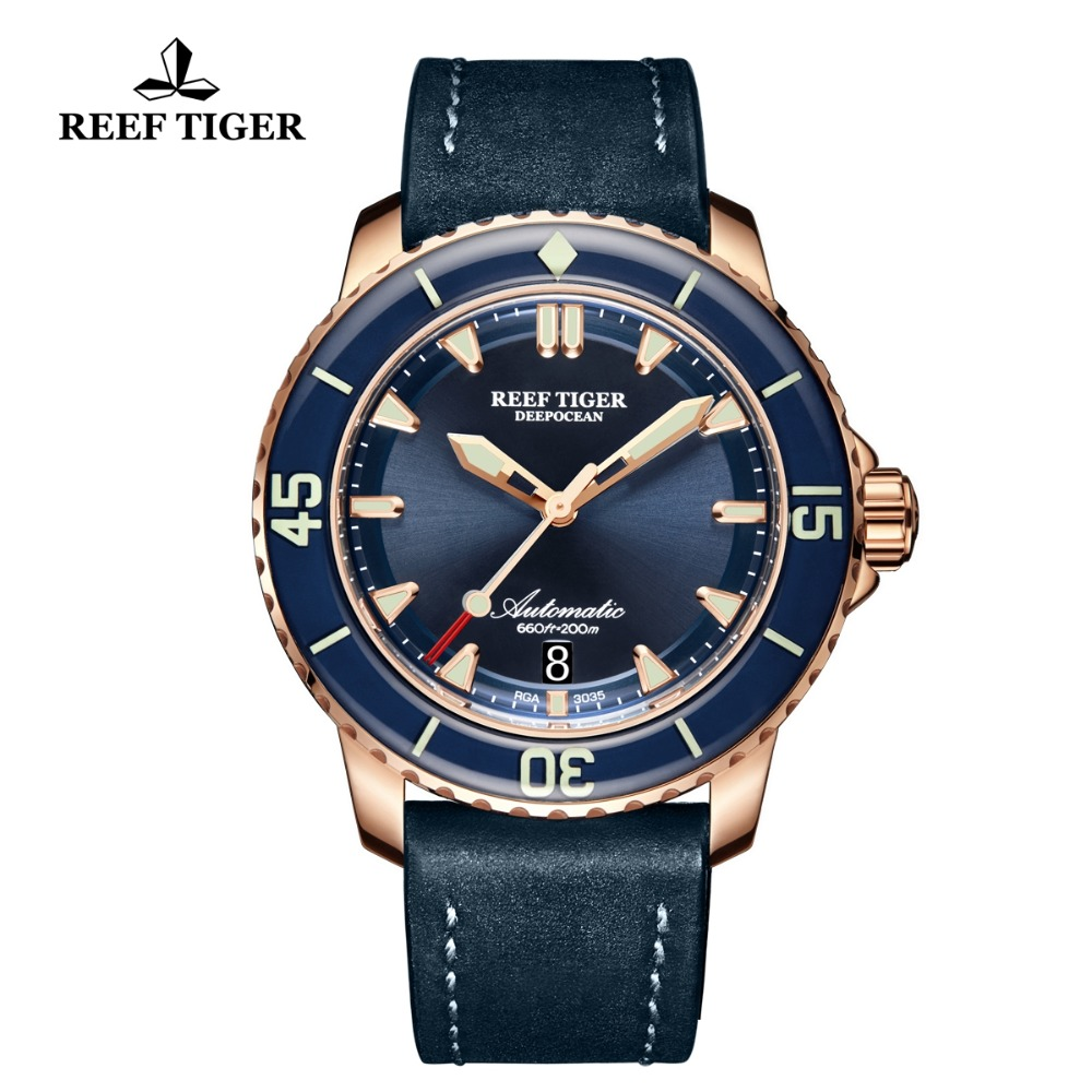 Reef Tiger/RT Luxury Dive Watches Luminous For Mens Rose Gold Bule Leather Strap Automatic with Date Waterproof Watches RGA3035Reef Tiger/RT Luxury Dive Watches Luminous For Mens Rose Gold Bule Leather Strap Automatic with Date Waterproof Watches RGA3035