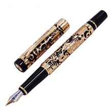 Jinhao 5000 Vintage Luxurious Metal Fountain Pen Beautiful Dragon Texture Carving, Black & Golden Ink for Office Business