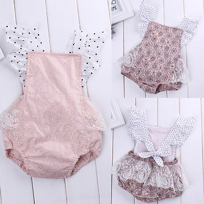 Toddler Infant Baby Girl Lace Floral Flowers Ruffle Sleeve Bodysuit Jumpsuit Outfits Backless Sunsuit Clothes minnie newborn baby girl clothes gold ruffle infant bodysuit bloomer headband set winter jumpsuit toddler birthday outfits