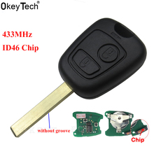 OkeyTech Replacement 2 Buttons 433MHZ ID46 Chip Remote Key Keyless For Citroen C1 C2 C3 C4 Xsara Picasso Car Key FOB VA2 Blade 433mhz 2 buttons keyless uncut flip remote key fob with id46 chip for citroen saxo picasso xsara berlingo sx9 d25 new listing
