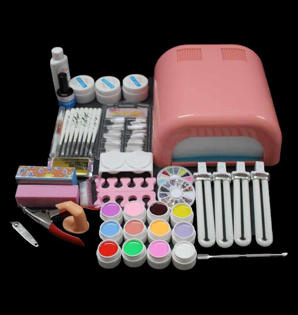 Hot Sale Professional 36w White Gel Polish Cur-ing UV Dryer Lamp 12 Colours Nail Art Manicure Tools Kit For Beauty Nails BTT-92