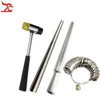 4Pcs/Lot Jewelry Tool US HK Size Stainless Steel Ring Enlarger Stick Sizer Mandrel Hammers Ring Sizer Finger Ring Guage Stick