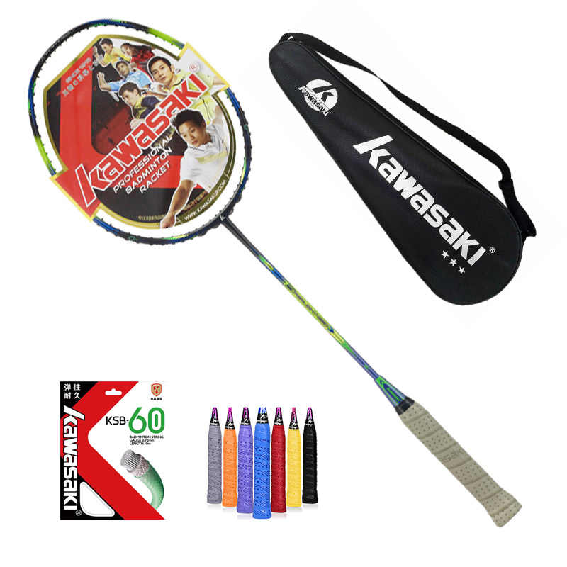 Only 74g!  Kawasaki 6U professional Badminton Racket Super light 580 5800 680 high quality carbon fiber Racquet with string