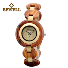 BEWELL Wood Women Watches Small Dial Womens Wooden Watch Luxury Top Brand Quartz Clock Relogio Feminino Wristwatch Paper Box 010