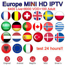 MINI IPTV+android tv box x96 mini best french iptv spain portugal italy france poland sweden arabic adult paytv m3u subscription(China)