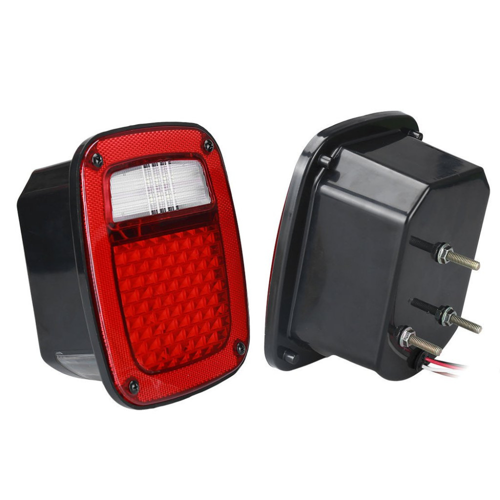 LED Tail Light With LED License turn light Plate Lamp Stop turn signal back up light for Jeep TJ 76-06 YJ CJ led tail lights for 2007 2015 jeep wrangler jk cj tail light brake reverse turn singal lamp back up rear parking stop light