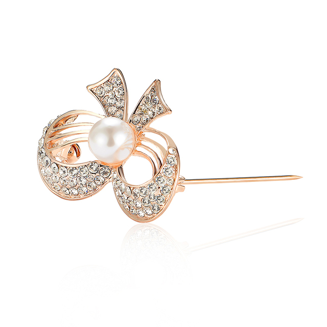 32464bd7a QCOOLJLY Bijoux Large Bowknot Simulated-Pearl Crystal Wedding Rhinestone  Broach Bouquet Hijab Pin Broches Party