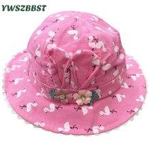 цены Summer Sun Hat for Girls Flowers Print Toddler Baby Girls Hats Autumn Kids Beach Bucket Cap Children Sunscreen Cap Accessories