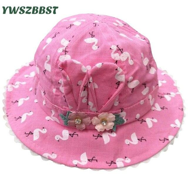 7ad5619bf89 Summer Sun Hat for Girls Flowers Print Toddler Baby Girls Hats Autumn Kids Beach  Bucket Cap Children Sunscreen Cap Accessories