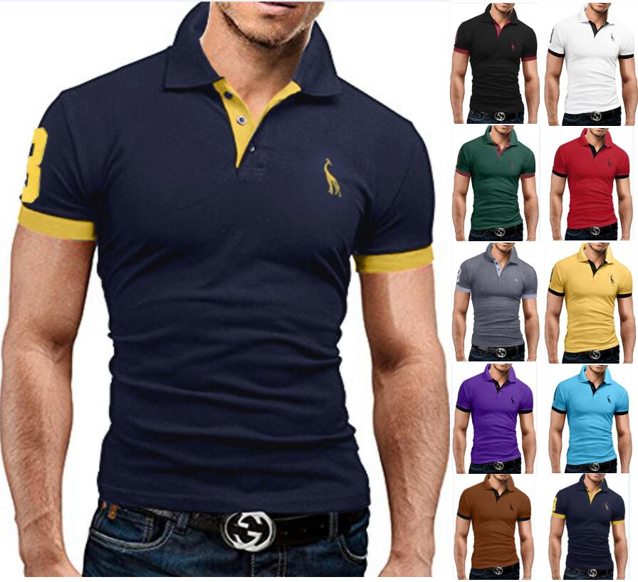 New Man   Polo   Shirt Mens Casual Deer Embroidery Cotton   Polo   shirt Men Short Sleeve High Quantity   polo   men