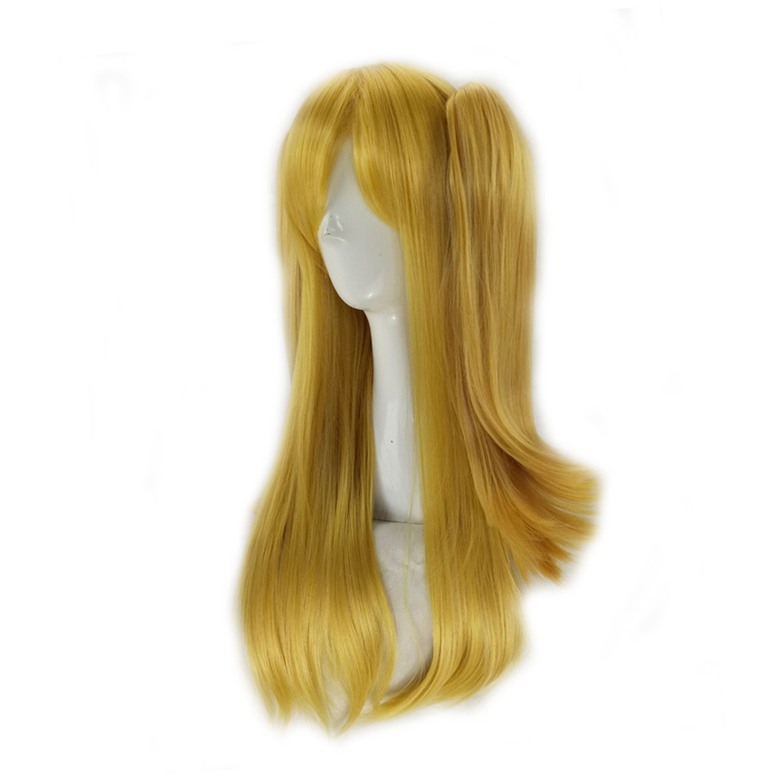 HAIRJOY  Synthetic Hair Woman 70cm Long Straight  Braided Orange Blonde Party  Wigs +2 Clips Ponytail Cosplay Wig 20