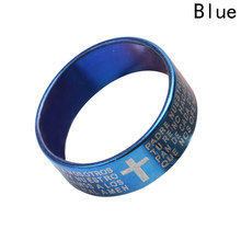 New Fashion Style Engraved Bible Cross Ring for Men 3 Colors Option Letter Steel Stylish Prayer Male Jewelry US Size Gifts(China)