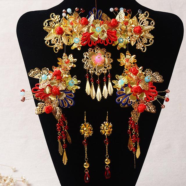 El tocado de la novia traje espectáculo kimono Corona paso sacudida dragón vestido de la novia de pelo accesorios para el cabello tocado traje nacional