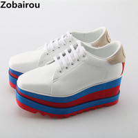 Zapatillas Deportivas Mujer Fashion Casual Hidden Wedge Shoes White Women Sneakers Female Plataforma Lace Up Leather Oxfords