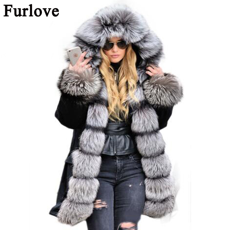 2017 New Women Winter Coat Army Green Thick Parkas Large Real Fox Fur Collar Hooded Thick Warm Fur Lined Parka Natural Fur coat princess sweet lolita parkas in the winter of new women s original japanese sweet fox fur collar long sleeved coat c22cd7219