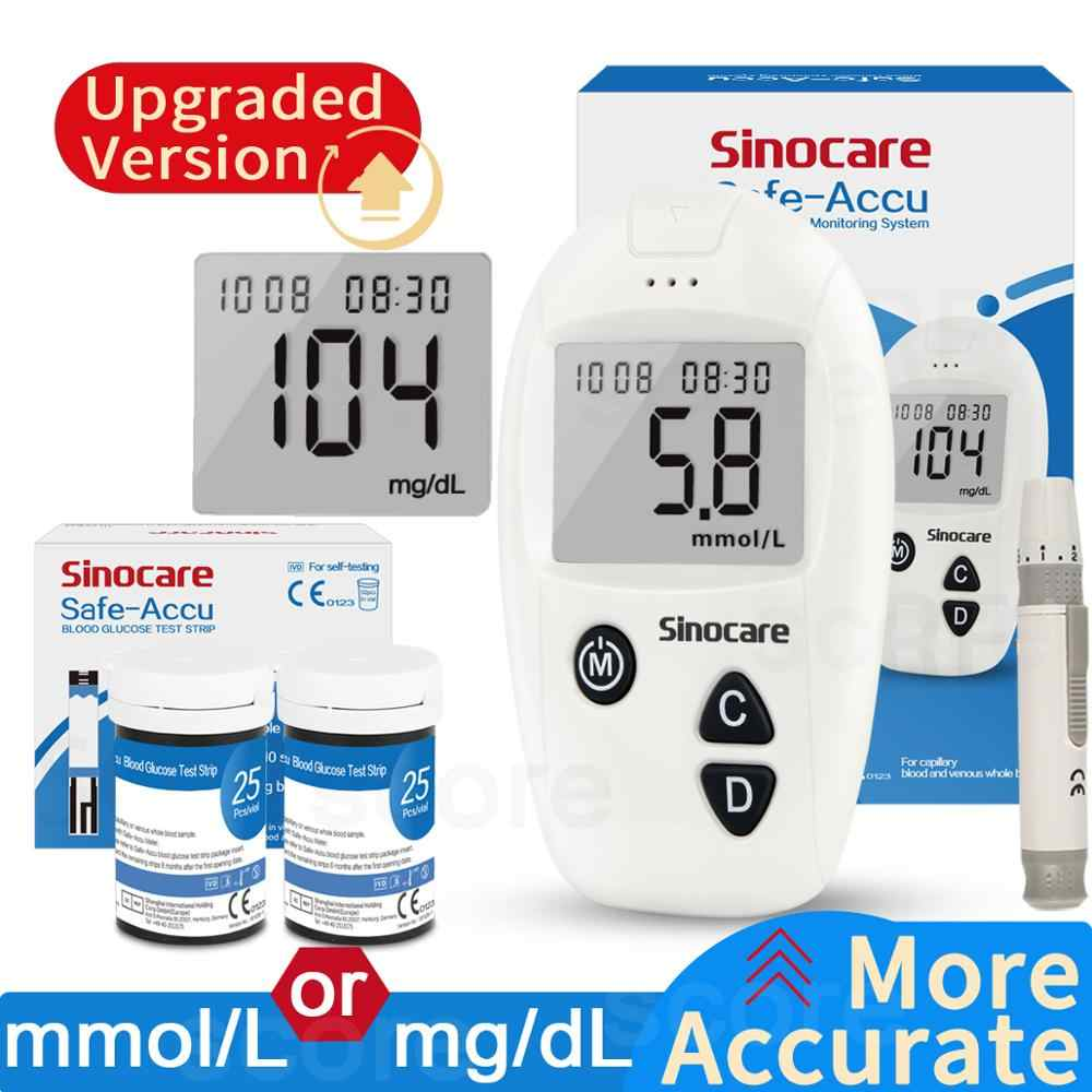 Sinocare Accu Blood Glucose Meter 50/100pcs Test Strips with Lancets Needles For Diabetes Blood Glucometer Blood Sugar Detection