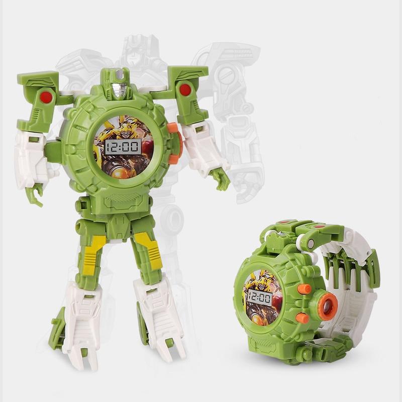 Creative Trasformation Wristwatch Toy Children Sports Cartoon Watches Cute Boys Robot Transformation Watch Toys Distortion Kids