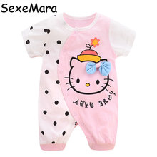 SexeMara Baby Rompers Baby Clothing Cotton Short Sleeve Cartoon Animal Cat Figure Summer Rompers Infant Girl Fit 0-1Y