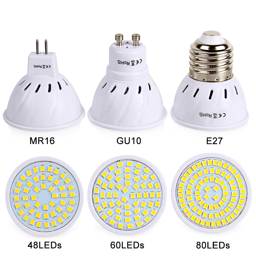 E27 Led Bulb GU10 MR16 Spotlight SMD2835 AC 220V 230V LED Lamp Super Bright Lights 48 60 80 LEDs Lamp Lighting For Home Decor mr beams светильник mr beams spotlight led на батареях с сенсорами корпус белый