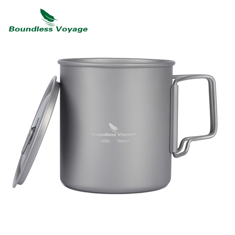 Boundless Voyage 420ml Titanium Cup With Cup Lid Camping Mug Outdoor Water Cup Ti1544B/Ti1518B keith pure titanium double wall water mugs with folding handles drinkware outdoor camping cups ultralight travel mug 450ml 600ml
