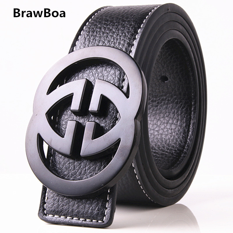 Fashion Solid Alloy G   Belt   Male Strap For Jeans Men High Quality Brand Designer men Real Genuine Leather   Belts   G BUCKLE