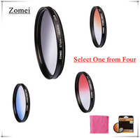 Professional Zomei 77mm Red Blue Orange Gray Color Gradient ND Filter Kits Camera Lens for Canon Sony Nikon etc Camera Screw