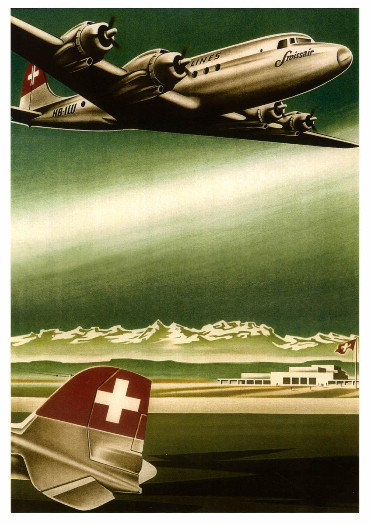 Vintage Aviation Poster Swissair Classic Canvas Paintings Vintage ...