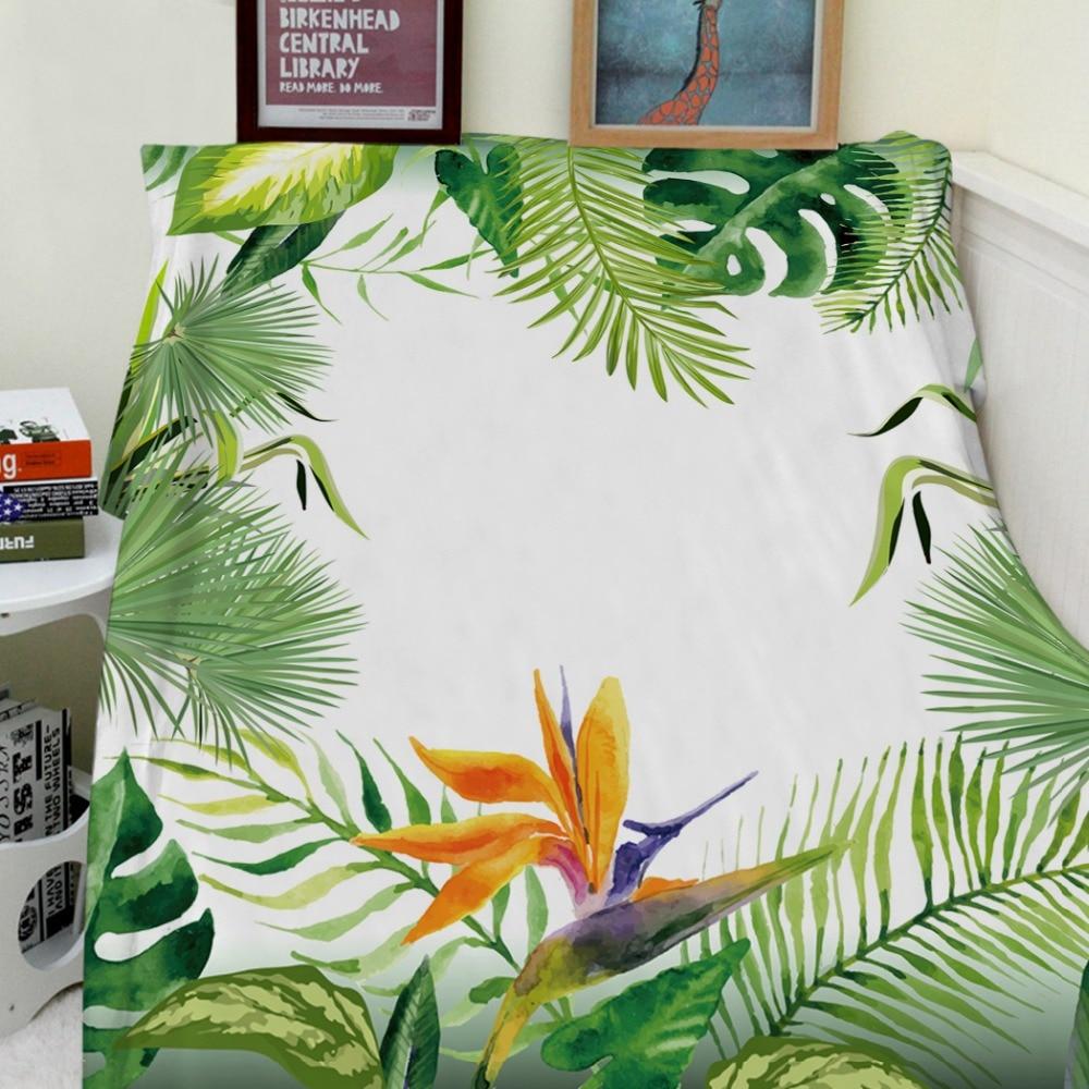 Blankets Cobertor Warmth Soft Plush Beautiful Green Tropical Plant Strelitzia Reginae Sofa Bed Throw a Blanket Thick Thin Plaid