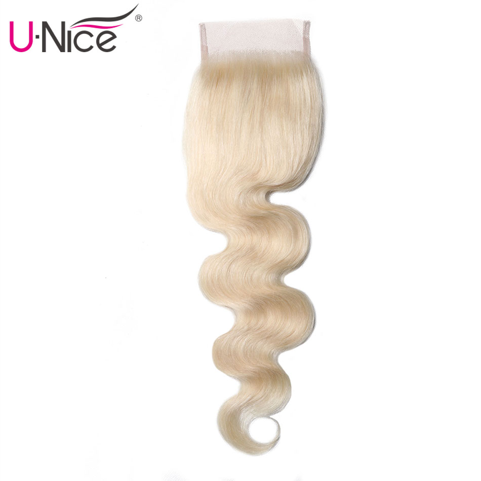 Unice Hair Brazilian Body Wave Lace Closure Free Part #613 10-18 Inch Blonde 100% Human Hair Lace Closure 1PCS Remy Hair