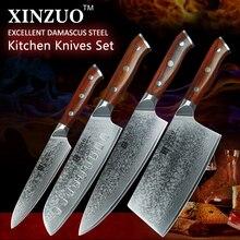 2017 xinzuo damaststahl küchenmesser set 8 zoll chef messer edelstahl santokumesser palisander griff kostenloser versand