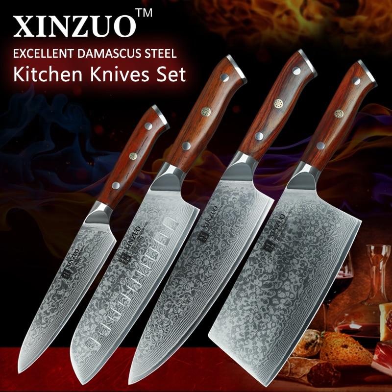 XINZUO 4 pcs Ensemble De Couteau De Cuisine VG10 Damas En Acier Grand Fendoir Chef Couteaux Santoku En Acier Inoxydable Couteau Manche En Palissandre
