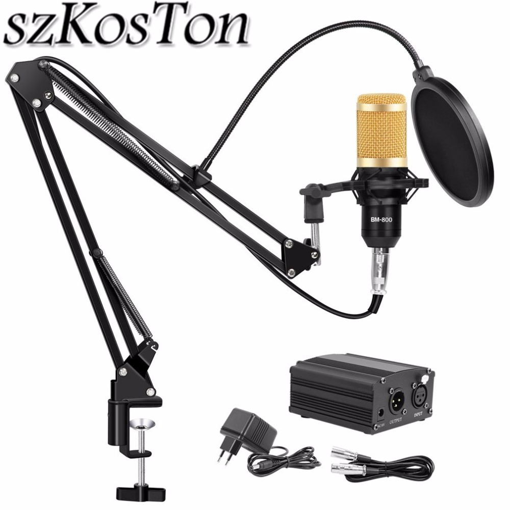 bm 800 Condenser Microphone Stand <font><b>bm800</b></font> Studio Microphone Bundle Pop Filter BM-800 <font><b>Phantom</b></font> <font><b>Power</b></font> for Computer Recording karaoke image