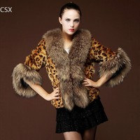 2014 New Design Fashion Ladies Thick Leopard Printed Faux Fox Fur Coat Outerwear Free Shipping Hot