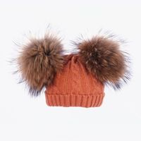Kids Real Fur Pom Pom Hat Baby Winter Hat Girls Boys Knitted Beanie Double Two Real Fur Pompom Hat for Children bonnet