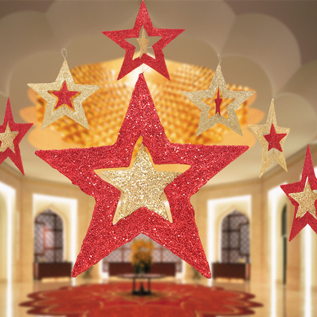 Christmas Decorations Golden Red Star Laser Hanging Pentagram Bar Ceiling Home Ornaments Xmas Party Decor
