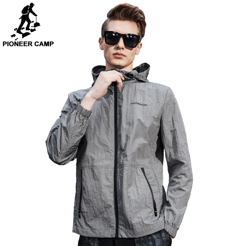 Pioneer Camp 2018 New Spring ultra thin jacket men brand clothing fashion casual ultra light waterproof male coat AJK707002