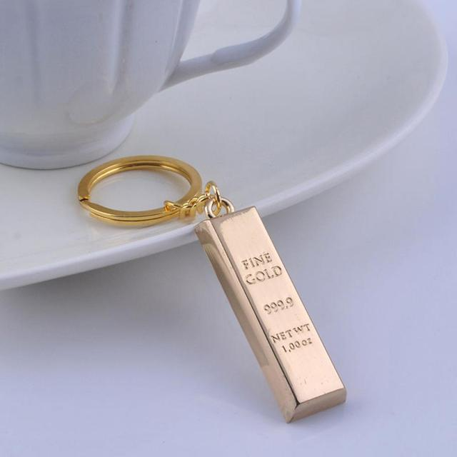 Fashion Metal Faux Ingot Bullion Keychain Key Chain Keyring Keyfob