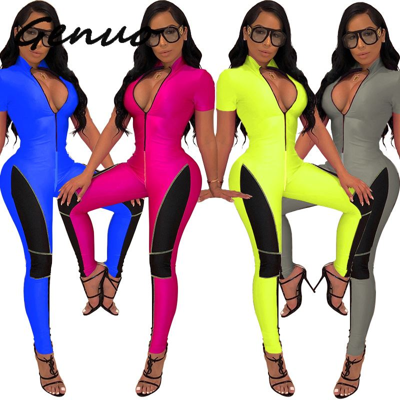 Genuo 2019 new summer sexy women solid style jumpsuit lady comfortable zipper fly fashion skinny 4colors romper