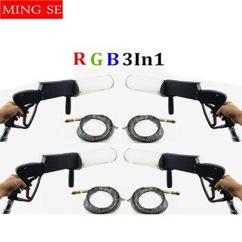 4 einheiten Haltegriff RGB 3In 1 LED Co2 Gun DJ Lichter 3 Meter Schlauch CO2 Jet Maschine DMX Bühne Wirkung maschine Schießen Abstand 8-10 meter