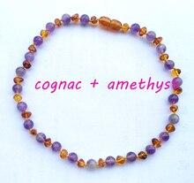 Cognac pulido piedra de gema Amatista Collar de Ámbar Del Báltico para el Bebé, infantil, de niño, Niños grandes