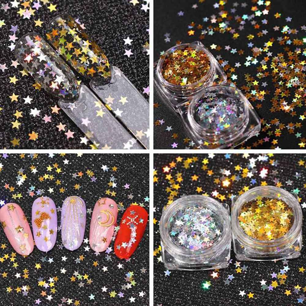 1 caja de la suerte de la estrella del oro de la suerte de las uñas de lentejuelas del brillo de las uñas de la estrella del oro