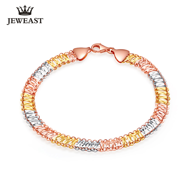 18K Gold Bracelet Circle AU&750 Fashion Classic Simple Hot Selling Genuine Gift Women Girl Hollow Rose Gold  Multiple colors