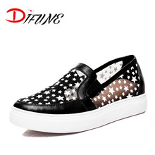 Hot sale 2016 gauze breath cut-outs Creepers Shoes for Women Flats Shoes slip-on genuine leather cowhide Black Ladies Shoes