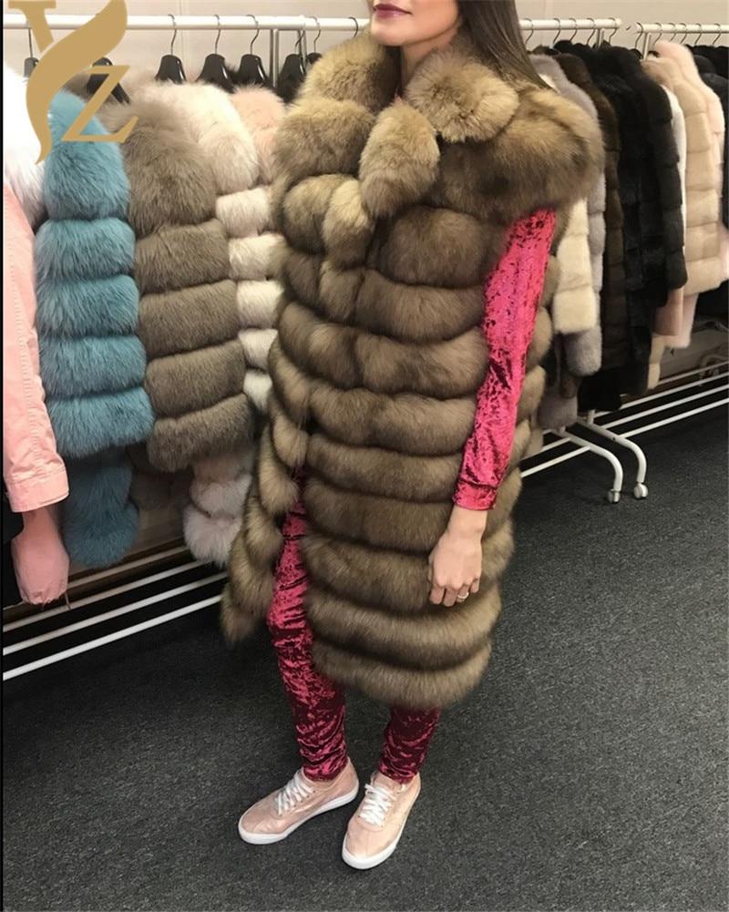 Sable Light Survêtement Gilet Fourrure Renard 2018 100 dark Col Luxe Mode Pour Of Détachable Cm Color Femmes Color Couleur Épaisse De Chaud Grand Nouveau nqSITH