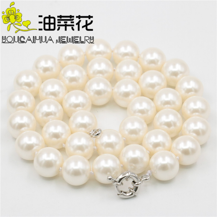 Charming 12mm Round Skin Pink Shell Pearl Necklace Hand Made Fashion Jewelry Making Design Gifts for Girl Women Party 18'' AAA