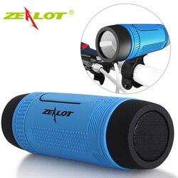 Zealot S1 سماعة لاسلكية تعمل بالبلوتوث المتكلم راديو FM في الهواء الطلق المحمولة دراجة المتكلم عمود صغير قوة البنك مصباح يدوي الدراجة